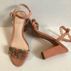 Loeffler Randal Pink Suede Leather Heels Size 10